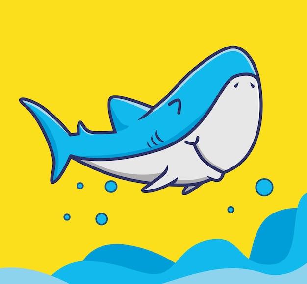 Un requin de dessin animé mignon vole au-dessus de la mer, profitez de joyeuses fêtes de vacances d'été animal