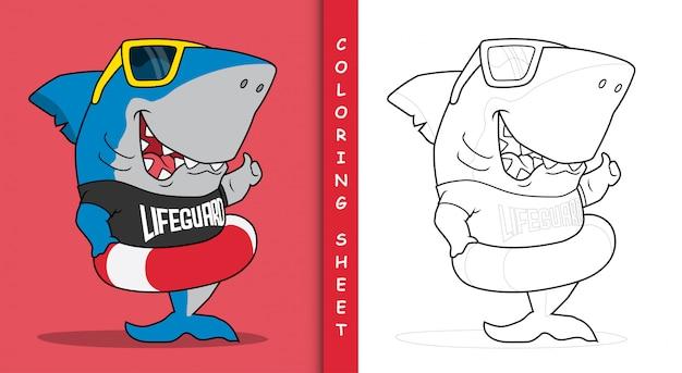 Requin le dessin animé de sauveteur