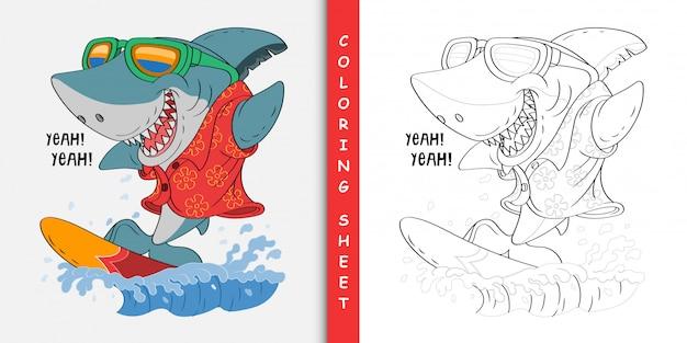 Requin dessin animé surfant, feuille à colorier