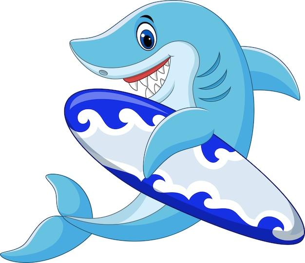 Requin de dessin animé tenant la planche de surf