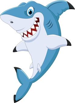 Requin drôle de bande dessinée posant