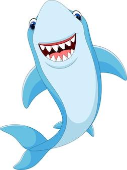 Requin drôle de dessin animé isolé sur fond blanc