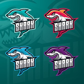 Requin esport mascotte logo modèle premium