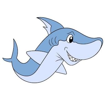 Le requin féroce géant nageait à la recherche de sa proie avec son visage souriant, illustration vectorielle. doodle icône image kawaii.