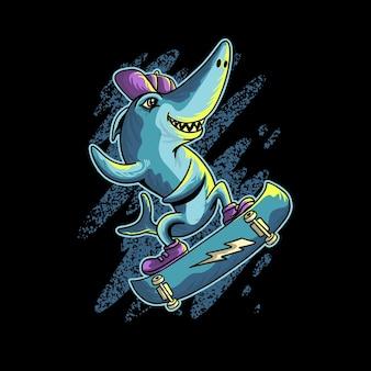Requin, jouer, skateboard, dessin animé, animal