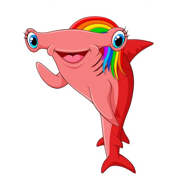 Requin-marteau aux cheveux arc-en-ciel adorable agitant la main