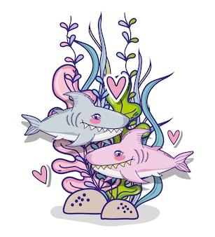 Requin en mer dessin animé mignon