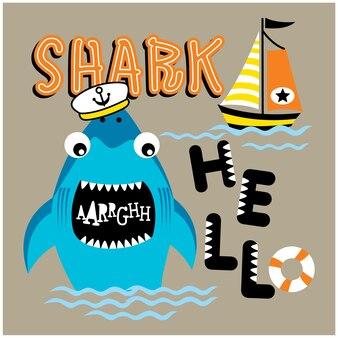 Requin sur la mer drôle de bande dessinée animale, illustration