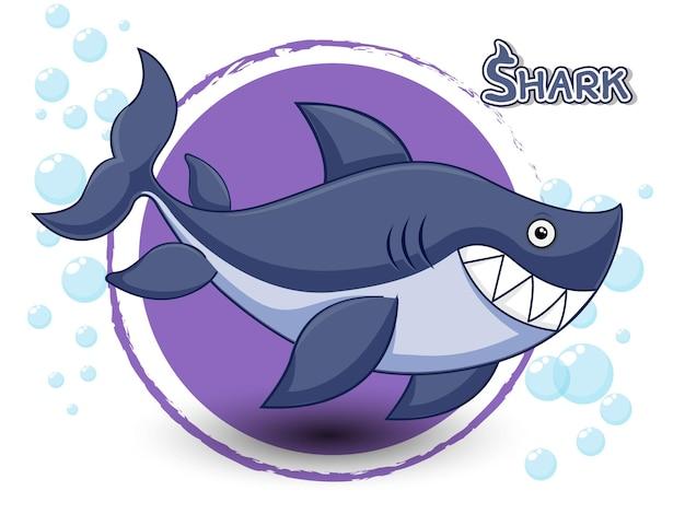Requin mignon de bande dessinée sur un vecteur de fond de couleur