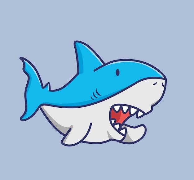 Requin mignon qui parle. concept de nature animale de dessin animé illustration isolée. style plat adapté au vecteur de logo premium sticker icon design. personnage de mascotte