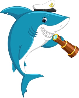 Requin mignon tenant des jumelles