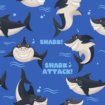 Requin modèle sans couture mer prédateur poisson dangereux souriant requins papier peint décor texture