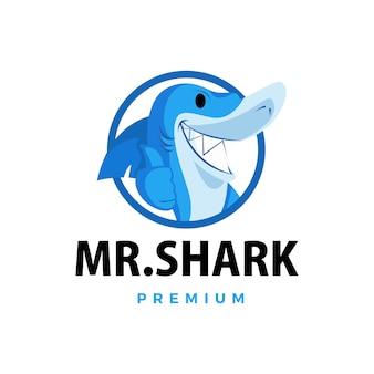 Requin pouce vers le haut mascotte caractère logo icône illustration