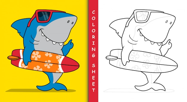Requin surfeur cool. feuille de coloriage.