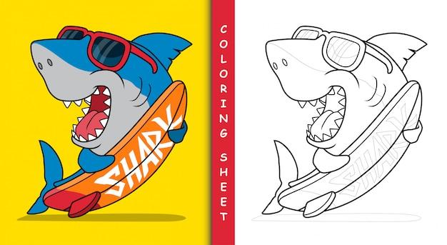 Requin surfeur cool. feuille de coloriage.