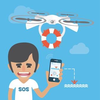 Rescue avec un fond de drone