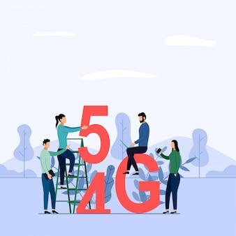 Réseau 5g sans fil connexion wifi, internet mobile haut débit. utilisation d'appareils numériques modernes, illustration commerciale