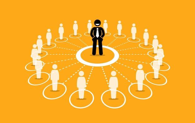 Réseau d'affaires et communication. concept homme d'affaires marketing de réseau, influence et leadership.