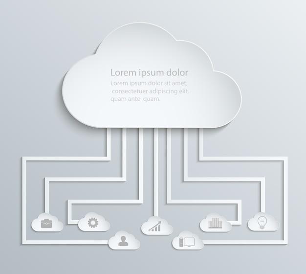 Réseau cloud avec icônes, infographie économique papier