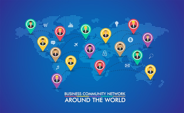 Réseau de communauté d'affaires avec la carte du monde