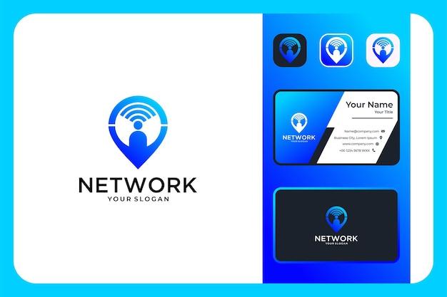 Réseau avec la conception du logo et la carte de visite des personnes et de l'emplacement