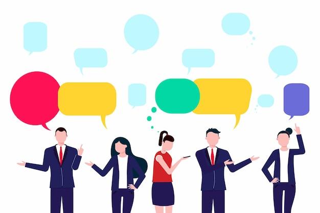 Le réseau de conversation sociale des hommes d'affaires discute du chat ou du dialogue sur le réseau social