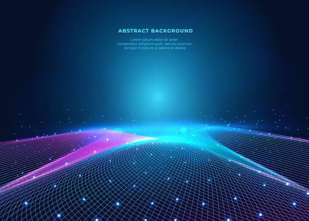 Réseau et fond bleu futur sur la surface de l'espace