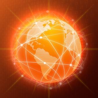 Réseau globe concept orange