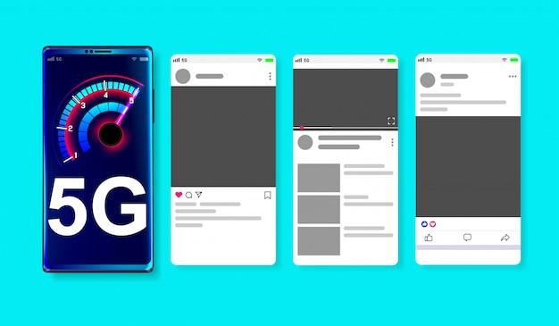 Réseau haute vitesse 5g sur la maquette en ligne des médias sociaux