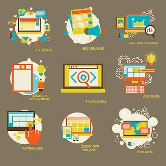 Réseau infographique de seo et stratégie de marketing financier