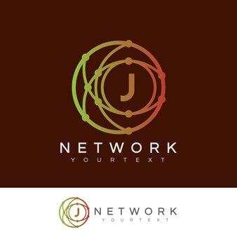 Réseau initial lettre j logo design