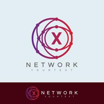 Réseau initiale lettre x logo design