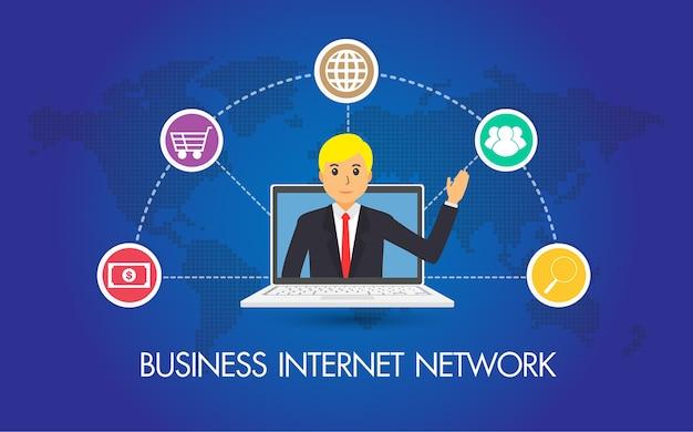 Réseau internet d'affaires, homme d'affaires