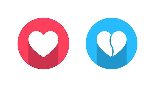 Réseau de médias sociaux aime et n'aime pas les icônes de coeur sur fond blanc