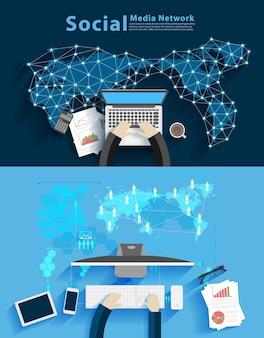Réseau de médias sociaux, homme d'affaires travaillant sur ordinateur contre backgroun de la technologie