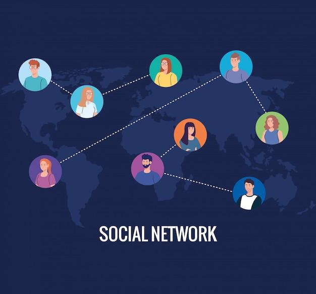 Réseau de médias sociaux, personnes connectées pour un concept numérique, interactif, de communication et global