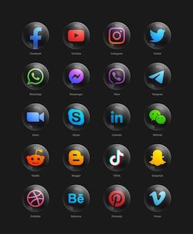 Réseau de médias sociaux populaire moderne 3d ronde icônes web noir