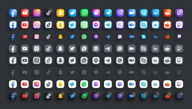 Réseau de médias sociaux populaires 3d couleur et ensemble d'icônes modernes noir blanc.