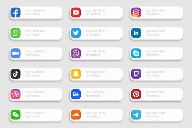 Réseau médias sociaux populaires troisième icônes inférieures ensemble 3d isolé