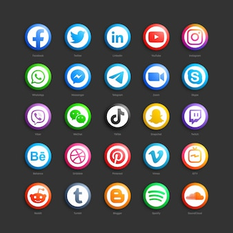 Réseau de médias sociaux rond icônes web 3d