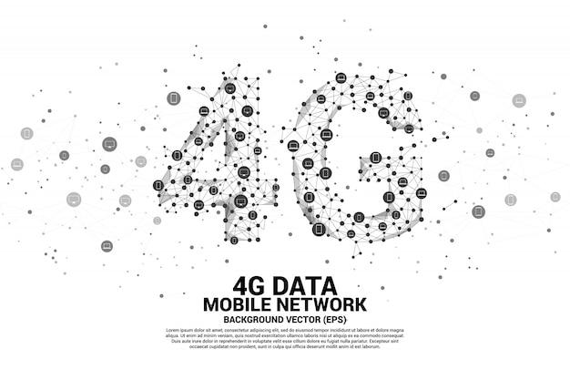 Réseau mobile 4g en forme de ligne de connexion de vecteur polygone