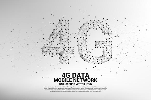 Réseau mobile 4g en forme de ligne de connexion vectorielle polygon