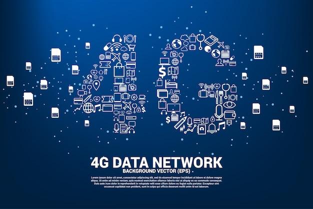 Réseau mobile 4g en forme de ligne polygonale à connexion en ligne