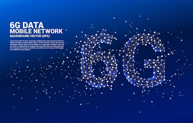 Réseau mobile 6g en forme de ligne polygonale à connexion en ligne.