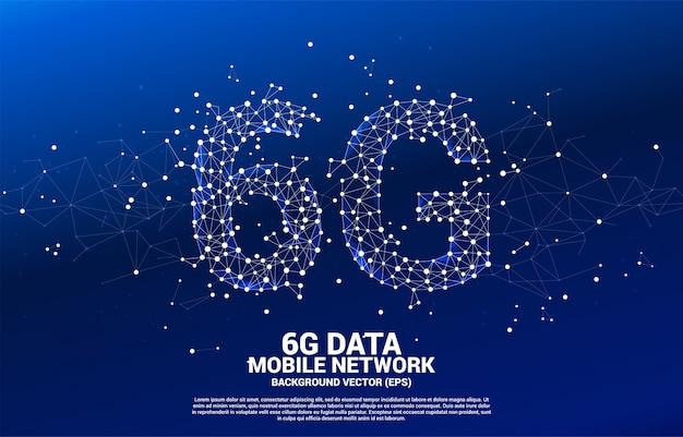 Réseau mobile 6g en forme de ligne vector connect polygone en forme. concept pour la technologie de données de téléphonie mobile.