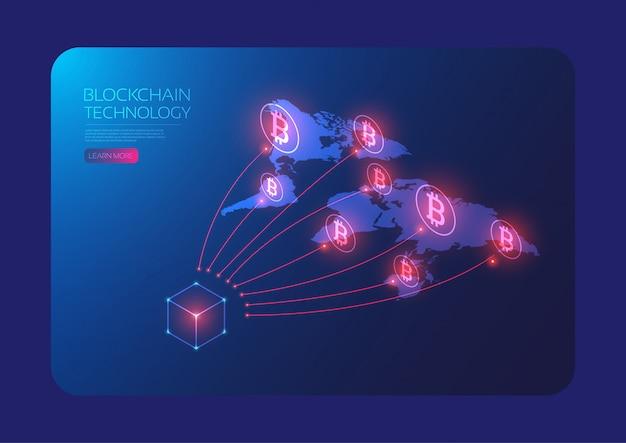 Réseau mondial de bitcoins isométriques