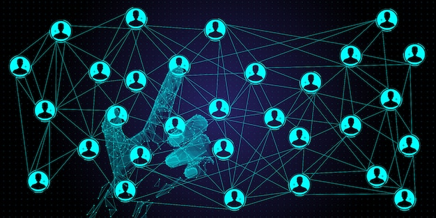 Réseau mondial à structure polygonale et échanges de données à base de main polygonale avec la nouvelle interface utilisateur.