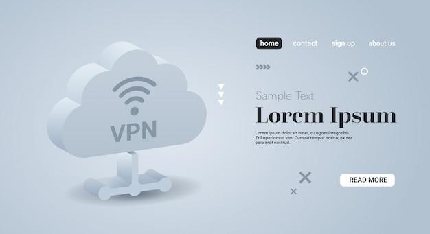 Réseau privé virtuel cloud cyber sécurité web et concept de confidentialité connexion vpn sécurisée en ligne