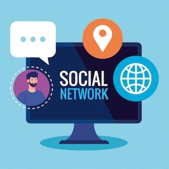Réseau social, homme connecté en informatique, communication et concept global