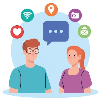Réseau social, jeune couple avec des icônes de médias sociaux